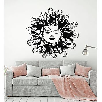 Vinyl Wall Decal Crescent Moon Face Sun Day Night Bedroom Decor Stickers Mural (g1126)
