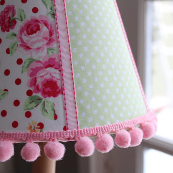 Reserved for Karen - Pink Rose Lampshade - Shabby Chic Lamp
