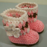 Baby Girl Boots--shoes-Pink Brown and White---Baby Shower Gift