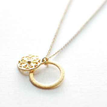 Gold Disc Necklace- Disc Layering Necklace, Filigree Necklace, Circle Pendant, Dainty Necklace by Heirloomenvy