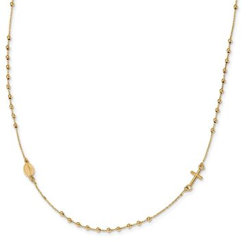 14K Yellow Gold Polished 16in Cross Rosary Necklace 16 Inch
