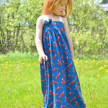 5T Maxi Dress, Girls Knit Maxi Dress, Long Dresses, Fox Dress, Summer Dress, Girls Sun Dress, Boutique Girls Clothes, Ready To Ship Dress