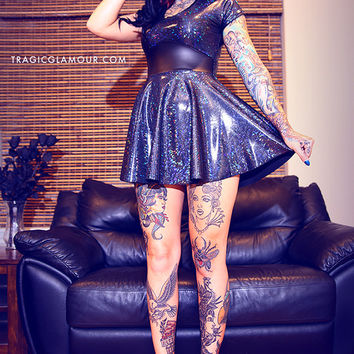 Black Hologram Mini Skater Dress S-L Made to Order