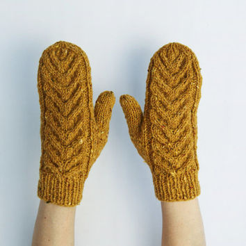 Mustard Yellow Mittens with Staghorn Cable Pattern Wool Angora Gift for Her