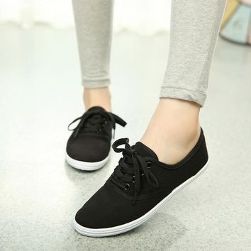 Tarpaulin canvas lace up casual sneakers ~ 5 colors!