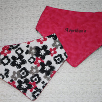 Personalized Hot Pink Reversible Girls Bandanna Bib- 9 characters. $5