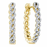 10kt Yellow Gold Women's Round Diamond Woven Hoop Earrings 1-2 Cttw - FREE Shipping (US/CAN)