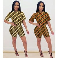 FENDI Summer Hot Sale Women Casual Print Short Sleeve Two Piece Suit