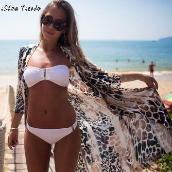 Leopard Print Pattern Cardigan Summer Style Ladies Long Outwear Loose Vintage Cover Up To Beach Wear