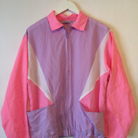 80's Vintage HABAND for HER Retro Purple Pink Zip Up Jacket- Size Large