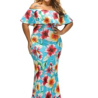 Sky Blue Plus Size Women's Maxi Dress