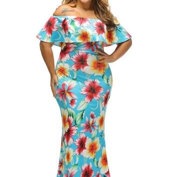 """ASYM"" Sky Blue Plus Size Women's Maxi Dress"