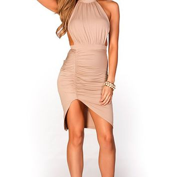 Allegra Mocha Tan Shirred Jersey Backless High Neck Halter Dress