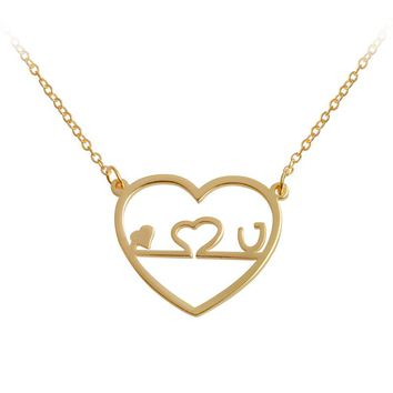 Hollow Heart Pendant Necklace Gold Color Heartbeat I LOVE U Necklace For Femme Jewelry Doctor Nurse Valentine's Day Gifts 2018