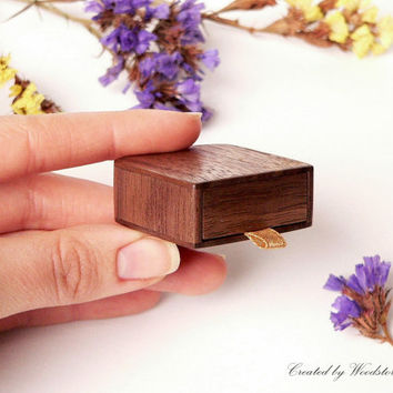 Engagement ring box - earring box - slim, elegant by Woodstorming