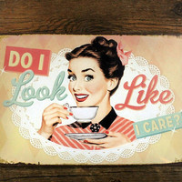 """SP-KF-32 Free shipping  """"sexy lady and coffee """" retro vintage metal tin signs painting home decor poster wall art craft 20X30cm"""