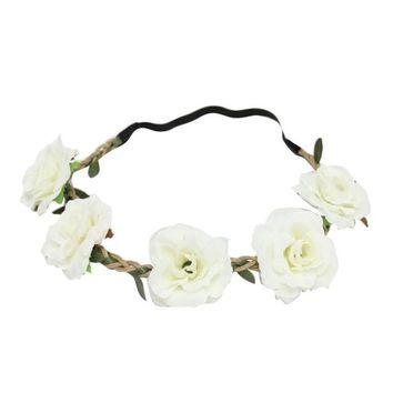 New  Style Floral Flower  Wedding Hair Wreaths Headband Hair Band Beige