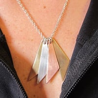 Mixed Metals Necklace Geometric Silver Brass by OxArtJewelry