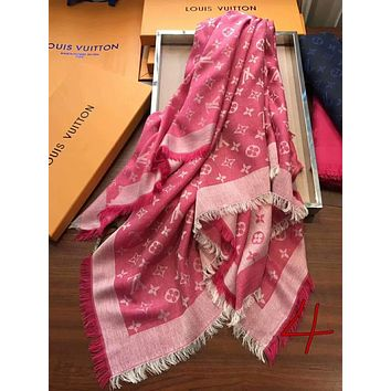 GUCCI Stylish Ladies Men Casual Cashmere Logo Print Soft Scarf Scarves Shawl Accessories Pink I-XLL-WJ