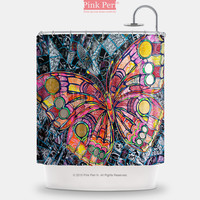 Butterfly Mosaic Floral Pattern Shower Curtain Home & Living Bathroom 097
