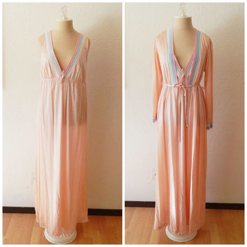 Vintage 70s Nightgown Pink Pastel Robe Pajama Set Small