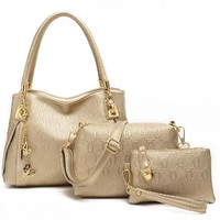 Embossed Pattern with Gold Butterfly Chain Handbag with Shoulder Bag and Coin Purse 3-Piece Set