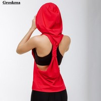 New arrival women sleeveless yoga tank top hooded shirt sports running fitness gym clothing womens smock sujetador deportivo