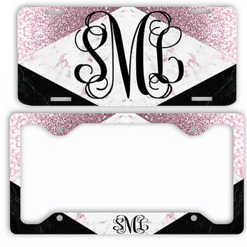 Black Rose Blush Marble Look License Plate Car Tag Monogram Frame Personalized Set Custom Initials Car Coasters Faux Pink Glitter Sparkle