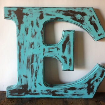 Rustic Beach Blue Letter E Wooden Initial, Home Decor 13x13