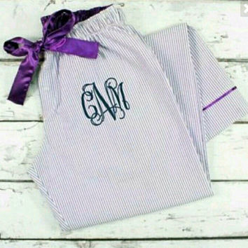 Embroidered Pajama Pants. Makes great gift or for bridemaids