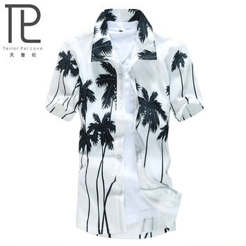 Brand Summer Hawaiian Men's Hawaii Beach Shirt, chemise homme Coconut Palm prints Loose Casual Shirts Asian Size L-4XL