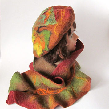 Felted beret and felted scarf collar set - mustard green leaf autumn