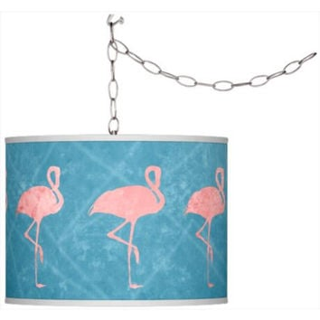 Flamingo Frenzy Pattern Plug-In Pendant Chandelier