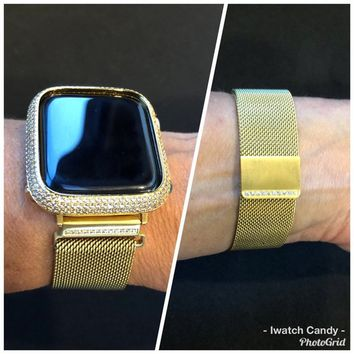 Series 4 Gold 38mm/40mm 42mm/44mm Apple Watch Band Womens Milanese Loop Rhinestone Crystals Series 1,2,3 4/Lab Diamond Bezel Case Cover