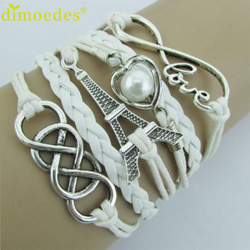 Diomedes New Best Qulity Fashion Infinity LOVE Heart Eiffel Tower Friendship Leather Charm Bracelet for women Perfect Gift