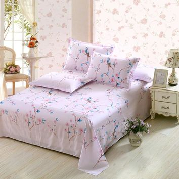 3PCS Sheet set Include Pillowcases Luxury Cotton Bed flat Sheets Color Double twin full queen king Soft Linen flowers bedding