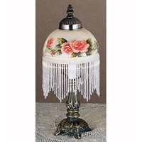 Meyda Tiffany 31323 6-Inch Fringed Globe White Accent Lamp with Roses