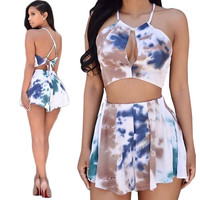 Tie Dye Crop Top And Shorts Two Piece 10364