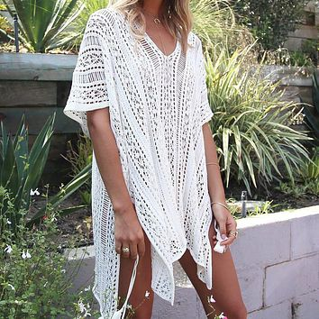 Knitted Pareo Beach 2017 Bathing suit  Cover-Ups Hollow Sexy Swimsuit  Beach Tunic Plage Beachwear  beach tunics