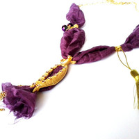 purple ottoman tulip necklace(purple silky cloth, gold plated brass, gold plated chain,  handmade, necklace, jewelry, ottoman)