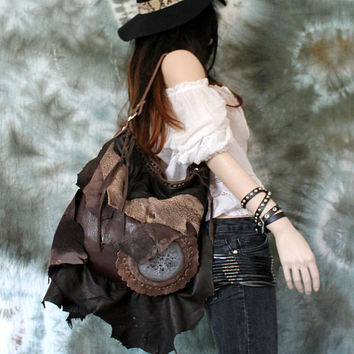 Dark brown artisan bag distressed leather asymmetrical raw edge boho hobo tote large tribal fringe festival casual hobo  purse bohemian