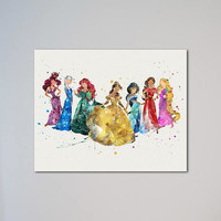 Elsa Meg Elena of Avalor Ariel Belle Jasmine Rapunzel Princesses Poster Watercolor Print