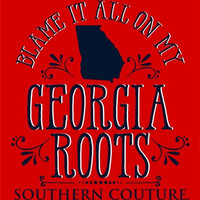 Southern Couture Blame it on my Georgia Roots State Pattern Girlie Bright T Shirt