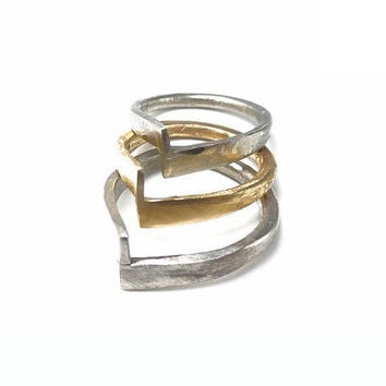 "RING ""Enigma1"" in Sterling Silver, Modern, Minimalistic. Hammered, Forged, Stackable."