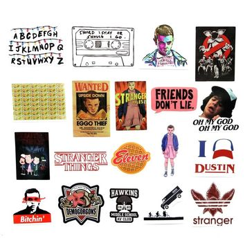 3 styles 18pcs/Lot Stranger Things Cartoon Graffiti Stickers For Laptop Sticker Decal Fridge Skateboard PVC Stickers For Travel