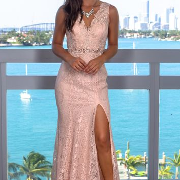 Blush Embroidered Lace Maxi Dress