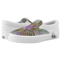 Floral Colorful Abstract Fractal With Pink & Gold Slip-On Sneakers