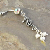 Seahorse and Pearls Belly Button Ring Pearl Jewelry