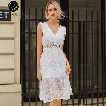 Lily Rosie Girl Sexy Blackless V Neck Women White Dresses Lace Sleeveless Hollow out Empire Summer Mesh Dress Party Vestidos