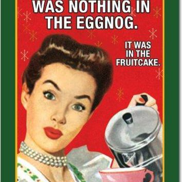 12 'Nothing In Eggnog' Boxed Christmas Hilarious Greeting Cards,  Merry Xmas Note Cards for Holidays, Gifts, Funny Eggnog & Fruitcake Humor, Notecard Stationery w/Envelopes, Nobleworks Christmas Cards